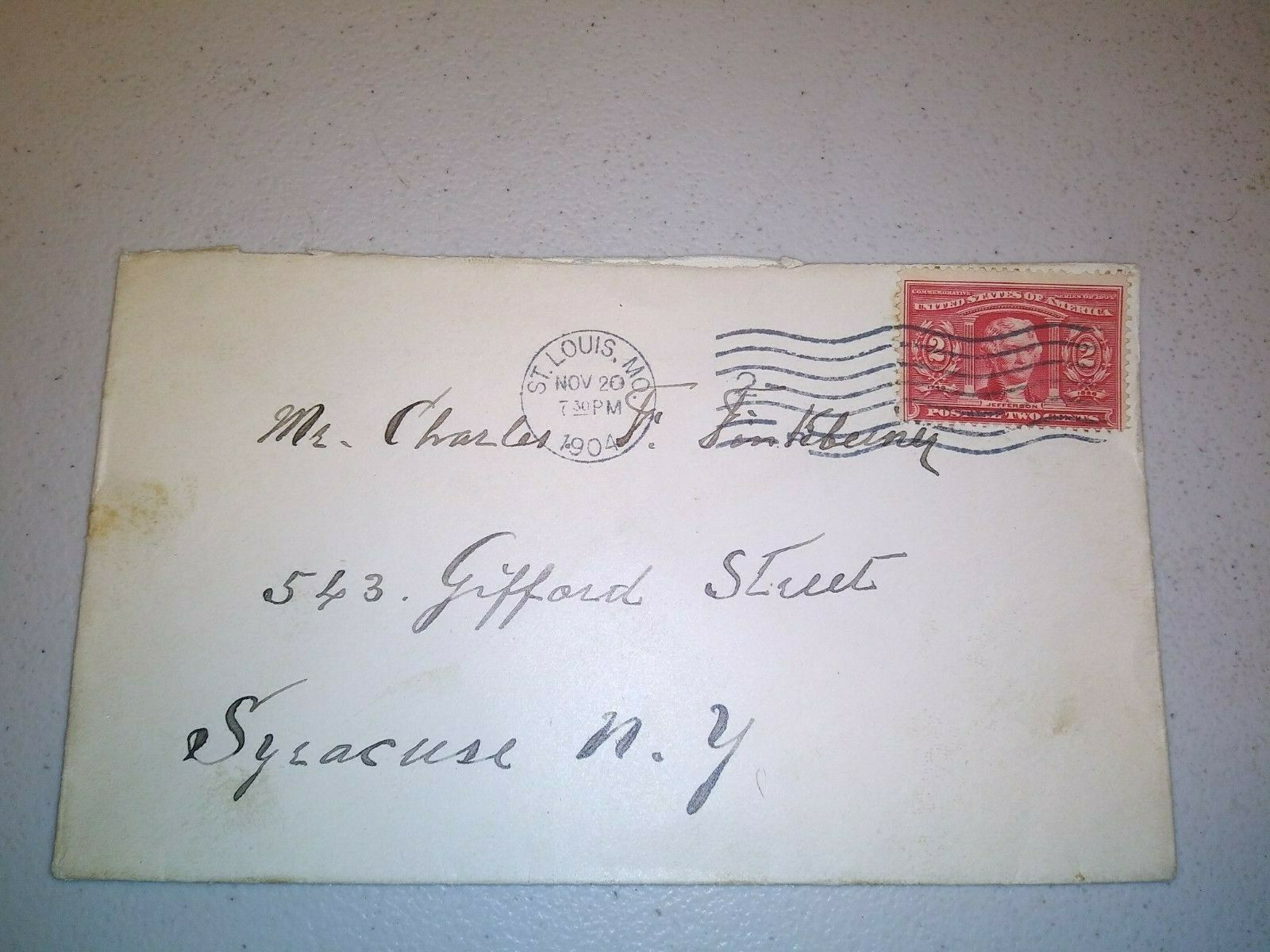 NOV 20TH 1904 ENVELOPE TO SYRACUSE 2 CENT JEFFERSON STAMP - $0.99