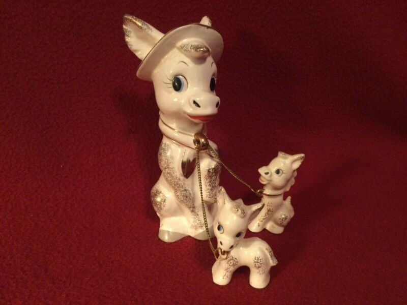 """Vtg Ceramic 6.5""""~ """"Mama Donkey with 2 Babies"""" On a Chain white with gold details"""