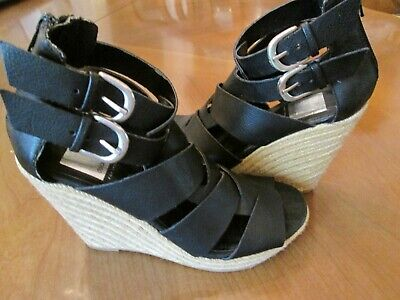 New DOLCE VITA Target Black Gladiator High Wedge Heel Sandal Womens Sz 6 M
