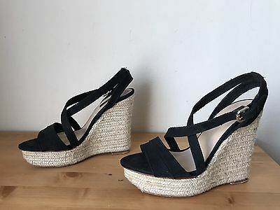 ZARA Basic black suede wedge sandal shoes sz 38/8, used for sale  Shipping to Nigeria