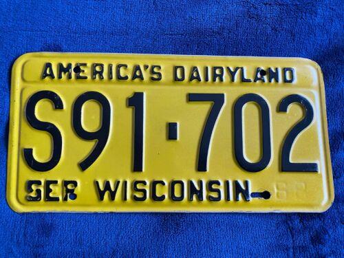1968 Wisconsin License Plate S 91 702 America
