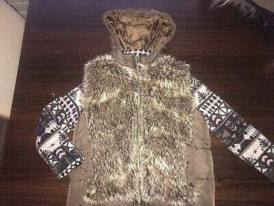 Girls River Islang Coat Jacket Knitted Sleeves And Fur Body 7Y