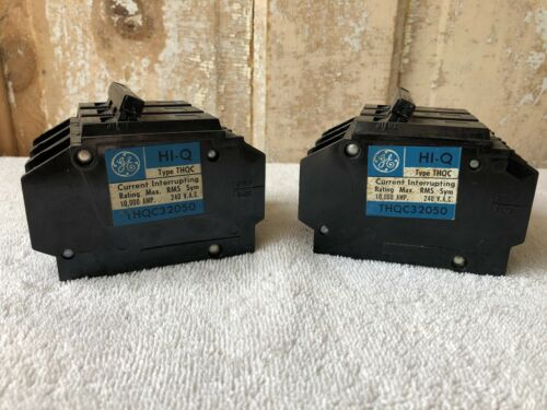 General Electric THQC32050WL 3 Pole 50Amp 240 VAC Circuit Breakers NOS 2 Units