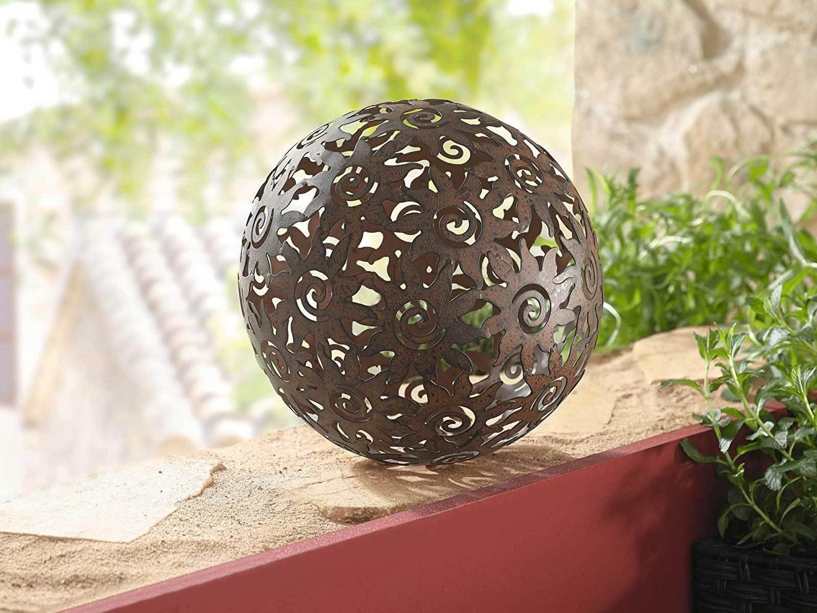 Dekokugel Blumen Metallkugel Rost Gartendeko Gartenkugel Terrasse Deko Edelrost
