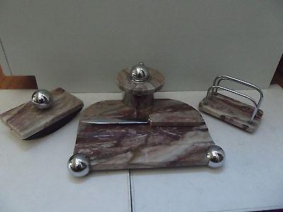 (B56) Art Deco Schreibtischgarnitur 4-teilig Marmor Chrom Kugelverschluss selten