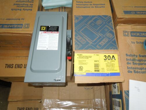 Sq D Hu361 Heavy Duty Safety Switch 30a 3p 600v Non-fused Type 1 Encl. Surplus