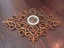Vintage SYROCO Wood Wall Clock Mid Century Modern DIAMOND STARBURST - As Found