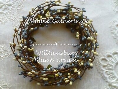 "WILLIAMSBURG BLUE CREAM 4"" Diameter Pip Berry Candle Ring Primitive Crafts  for sale  Richmond"