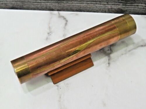 Steven Augure Kaleidoscope Signed 1983 Brass Copper Artist w Stand