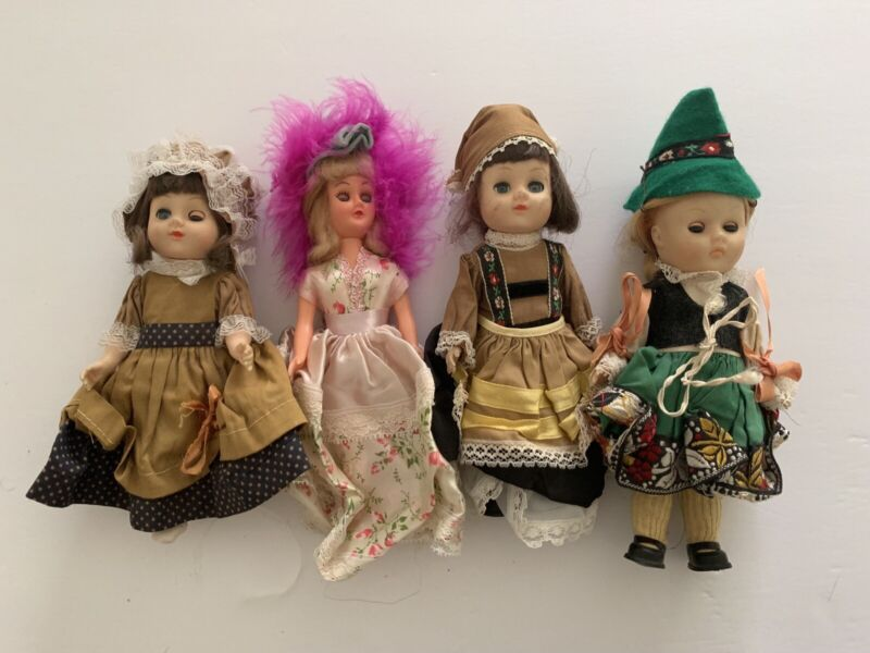 "Vintage 1970's Doll LOT 4 Old 7"" Made In Hong Kong Extremely Preowned Discolored"