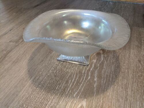 Northwood USA Stretch Glass White /Pearl Iridescent Folded Compote Bowl