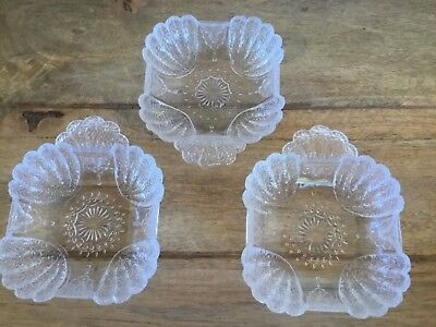 ANTIQUE EAPG DESSERT / RELISH BOWLS ( QTY 3 ) AS IS