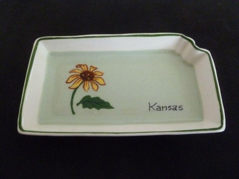 Annie Laura Handpainted state tray KANSAS 34 5 inch