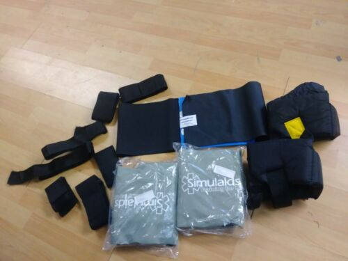 SIMULAIDS TRAINING KIT ASSORTED TRAUMA ACCESSORIES & CARRY BAG STRAPS PADS EMT