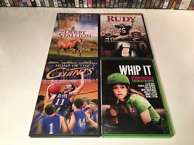 Family Sports Drama DVD Lot of 4 Rudy Whip It Derby Stallion Home Of The Giants