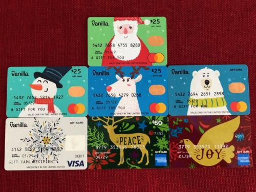 7 NEW VANILLA CHRISTMAS 2020 GIFT CARDS LOT LIMITED