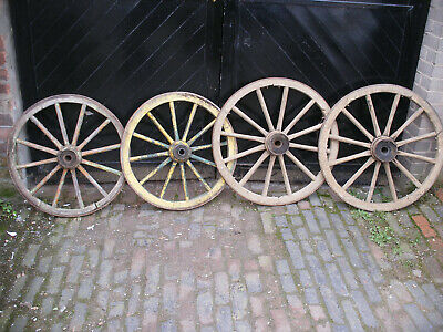 Ancient wooden cart wheels. 700 - 800mm diameter