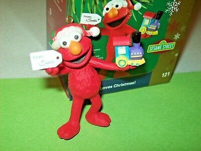 Sesame Street Elmo Loves Christmas Holding Train 2006 Carlton #121 Ornament ](Elmo Christmas Ornament)