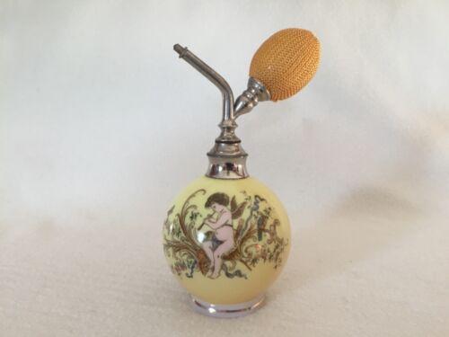 Antique Opaline Glass Perfume Atomizer Bottle with Cherub
