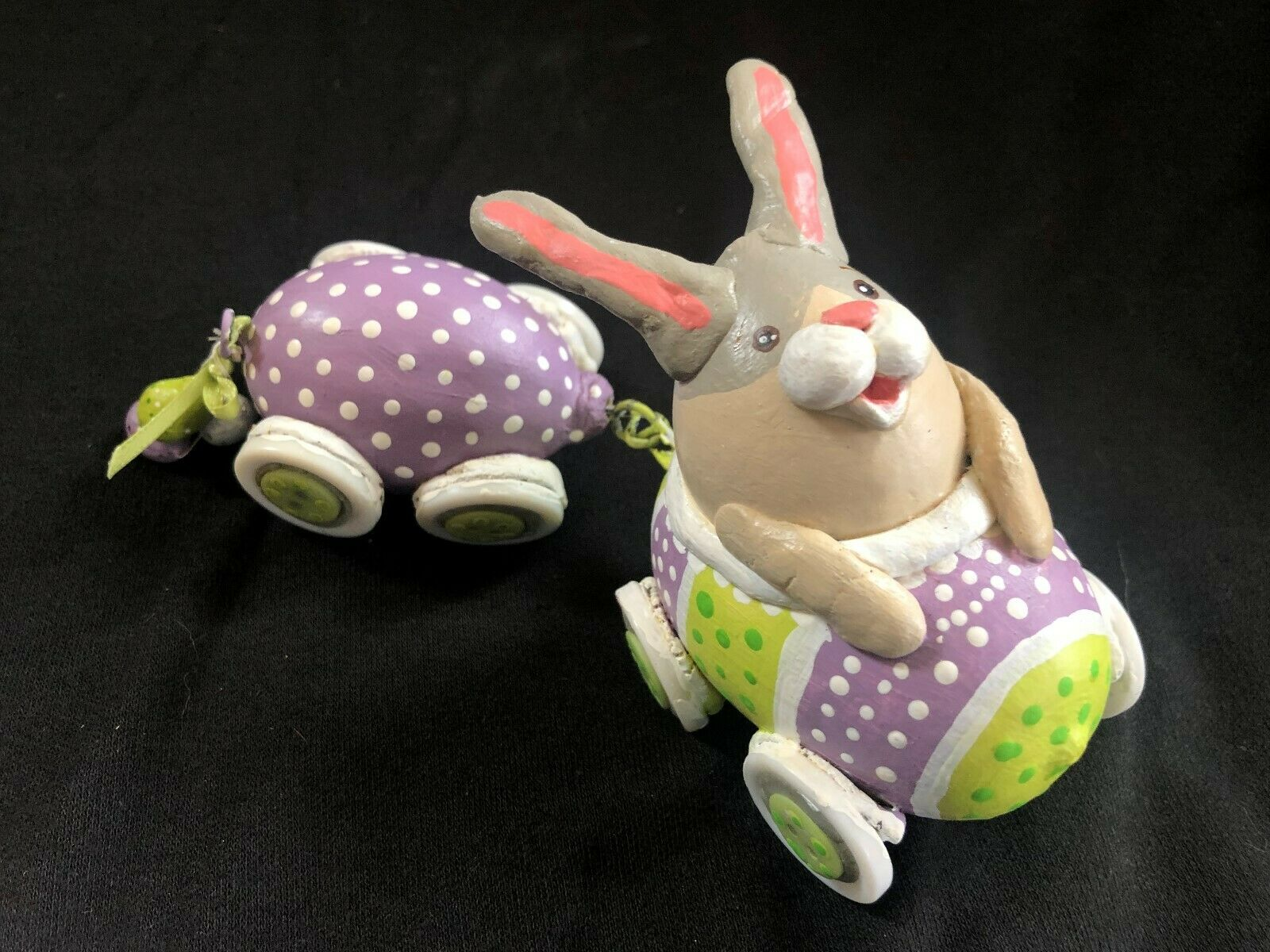 hand painted easter spring bunny car