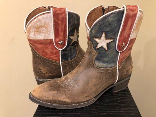 SHERYL CROW SC Americana Flag Leather Boots Cowboy Cowgirl W