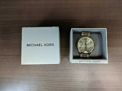 New Open Box Michael Kors Merrick Chronograph Steel Watch MK8638, Gold -BBL22