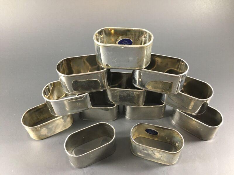 Vintage Silver Plated On Brass Hong Kong Napkin Rings Set Of 12 Elegant Dining.
