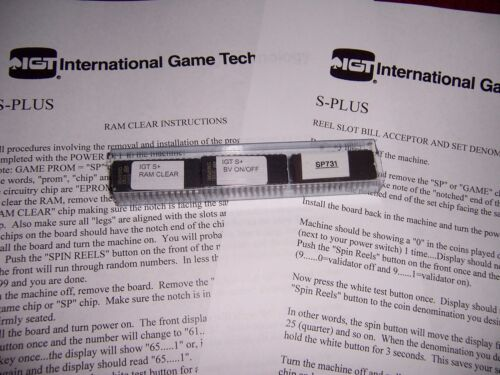 IGT S+ S-Plus Slot machine RAM & BV Bill Validator clear set chips & SP731