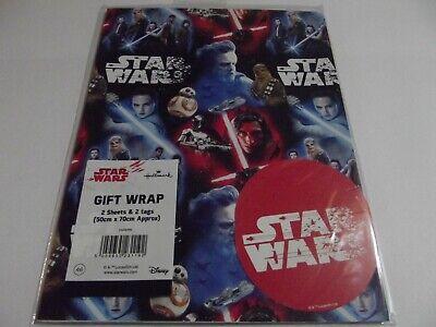 Star Wars....Birthday Gift Wrap......2 Sheet & 2 Tag....50cm x 70cm