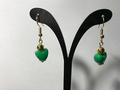 Green  Heart Dangle Earrings Acrylic Gold Plated Hook Love Bead Jewelry Gift US Acrylic Gold Plated Earrings