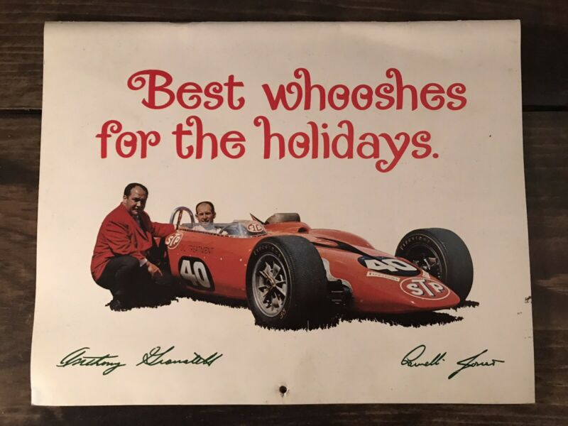 Vtg 1968 Wall Calendar STP Indy 500 Car 1967 Race Best Whooshes Granatelli Jones