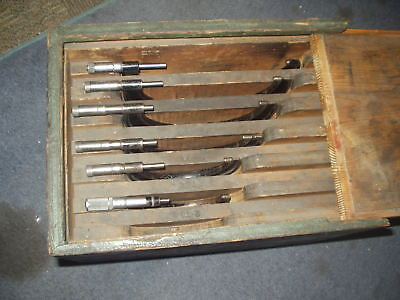 Vintage Outside Micrometer Set 3 To 8 Two Starrett And 4 Are J.t. Slocomb
