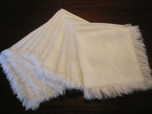 SET OF 11 FINEST QUALITY ANTIQUE WHITE DOUBLE DAMASK LINEN NAPKINS FRINGE BORDER