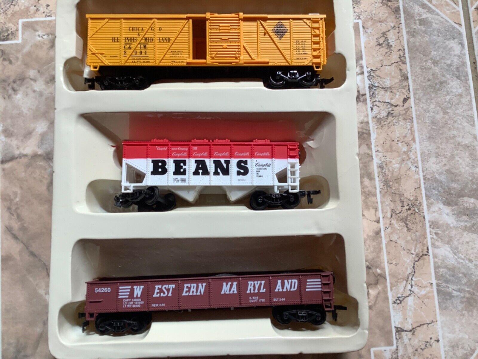 Life-Like 8459 H0 3-Pack USA Güterwagen Chicago Beans Maryland unbespielt OVP