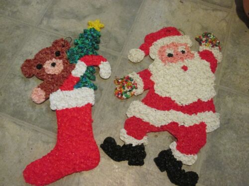 Vintage Melted Popcorn Christmas Stocking with Bear and Santa Claus