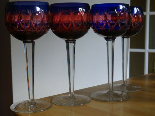 FOUR VINTAGE ROEMER WINE GLASS CRYSTAL BOHEMIAN TWO COLORS BLUE AND RED