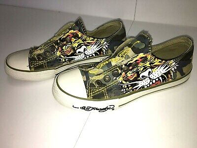 Ed Hardy Womens Shoes Canvas Low Casual Tiger and Eagle Design Size 6