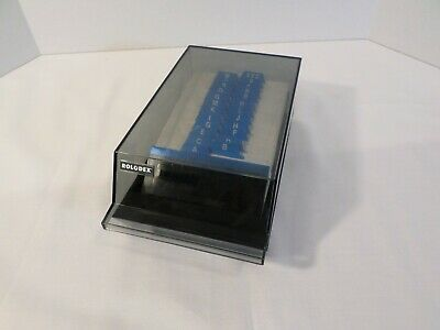 Vintage Rolodex Card File Model Vip 24c Usa Grey Covered Office Organizer