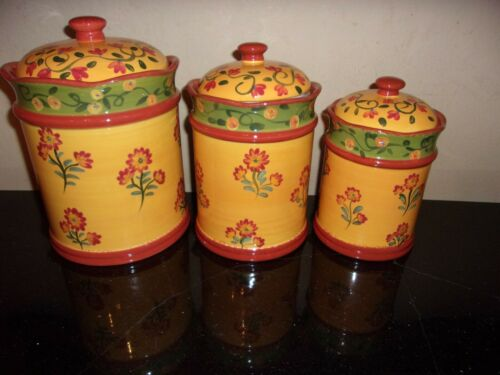 """Certified International """"Provence"""" - Set of 3 Canisters With Seals - RARE & HTF!"""