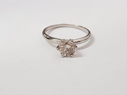 0.86 Ct Round Cut Solitaire Diamond Engagement Ring 14k White Gold H Color Vs2