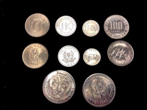 Congo. Coins set #3 1967 1965 1975 100 franc francs 10 coins lion gazelle