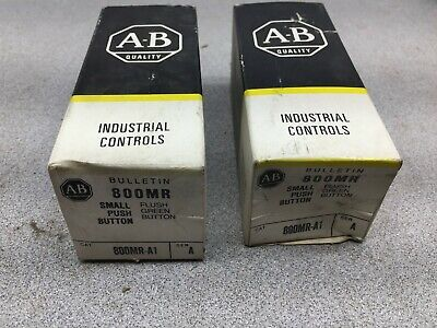 New In Box Lot Of 2 Allen Bradley Small Green Push Button 800mr-a1 A