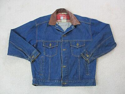 VINTAGE Marlboro Jean Jacket Adult Medium Blue Brown Denim Rancher Coat Men 90s*
