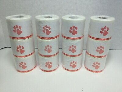 Veterinary Prescription Labels Red Paw Print Warning 2-18 X 2-34 12 Rolls