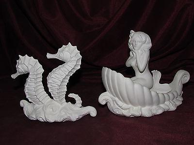 Ceramic Bisque Seahorses and Mermaid Chariot Set U-Paint Unpainted Fantasy DIY