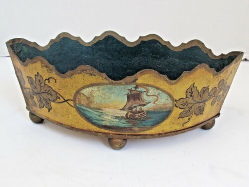 Antique French Toleware Planter 19th Century  Yellow with Sailing Ship