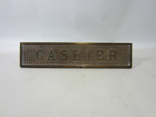 Antique Brass CASHIER Bank Desk Sign
