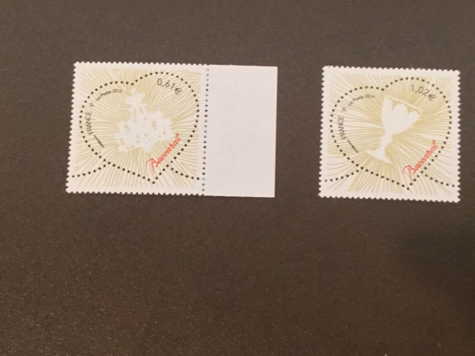 FRANCE BACCARAT PERFORATED 2014 MNH Scott 4551-52 PERFORATED STAMPS FV 1.63  - $1.99