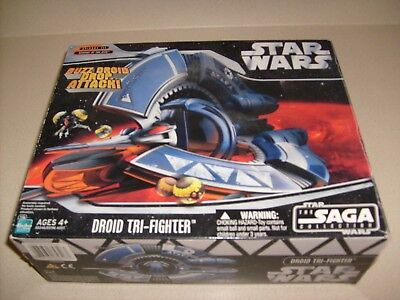 STAR WARS SAGA COLLECTION DROID TRI-FIGHTER FIGURE VEHICLE NEW ()