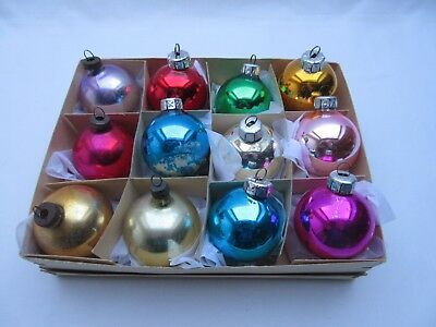 12 assorted colours vintage glass Christmas tree baubles